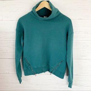 Diadora Quilted Teal Cowlneck Sweatshirt Zip Hem